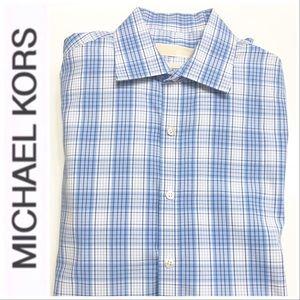 Michael Kors Blue Plaid Dress Shirt Neck 15.5